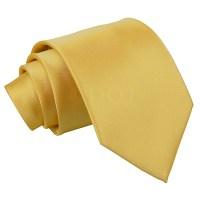Men's Plain Gold Satin Tie