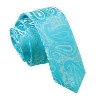 Men's Paisley Turquoise Skinny Tie