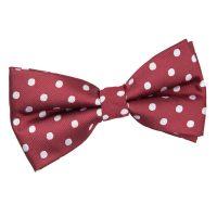 Men's Polka Dot Burgundy Bow Tie