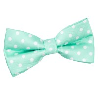 Men's Polka Dot Mint Green Bow Tie