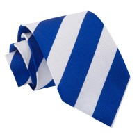 Men's Striped Royal Blue & White Tie