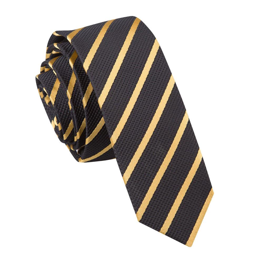 Men's Single Stripe Black & Gold Skinny Tie