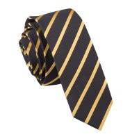 Men's Single Stripe Black & Gold Skinny Tie