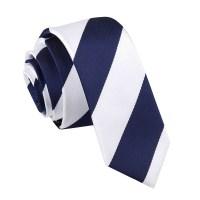 Men's Striped Navy & White Skinny Tie