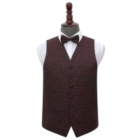 Men's Swirl Black & Burgundy Wedding Waistcoat & Bow Tie Set