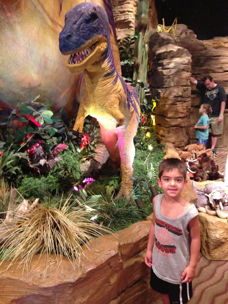 T-rex Disney Springs with toddlers