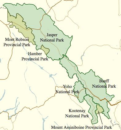 Canadian Rockies itinerary map