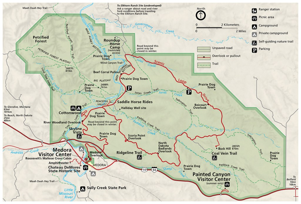 north dakota national parks theodore roosevelt map