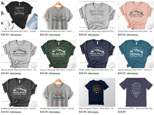 shirts  national parks gift guide