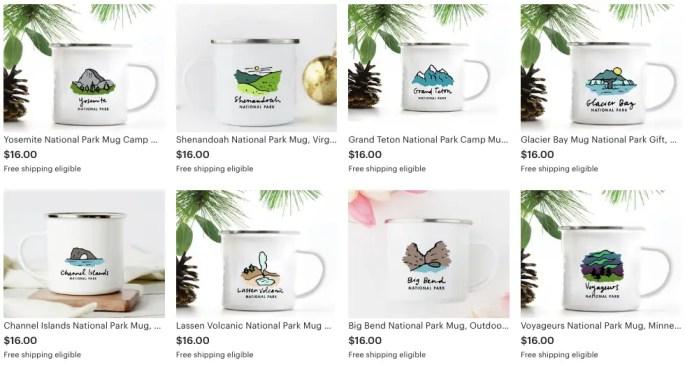 national parks gift guide mugs