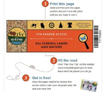 4th grade national parks pass print out