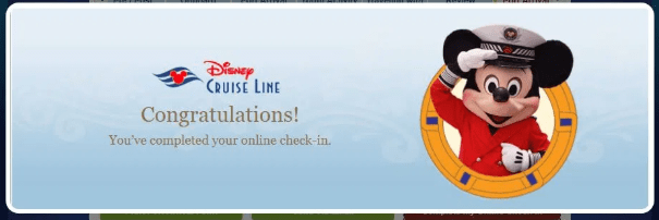 Disney cruise check in finished