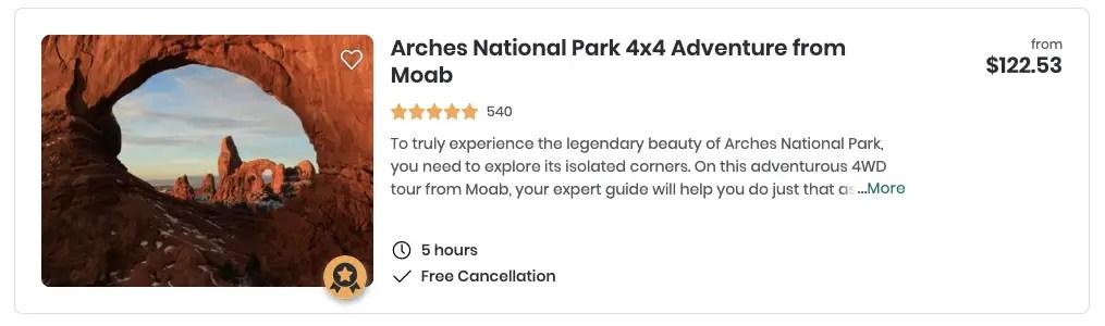 Arches 4x4 Tour