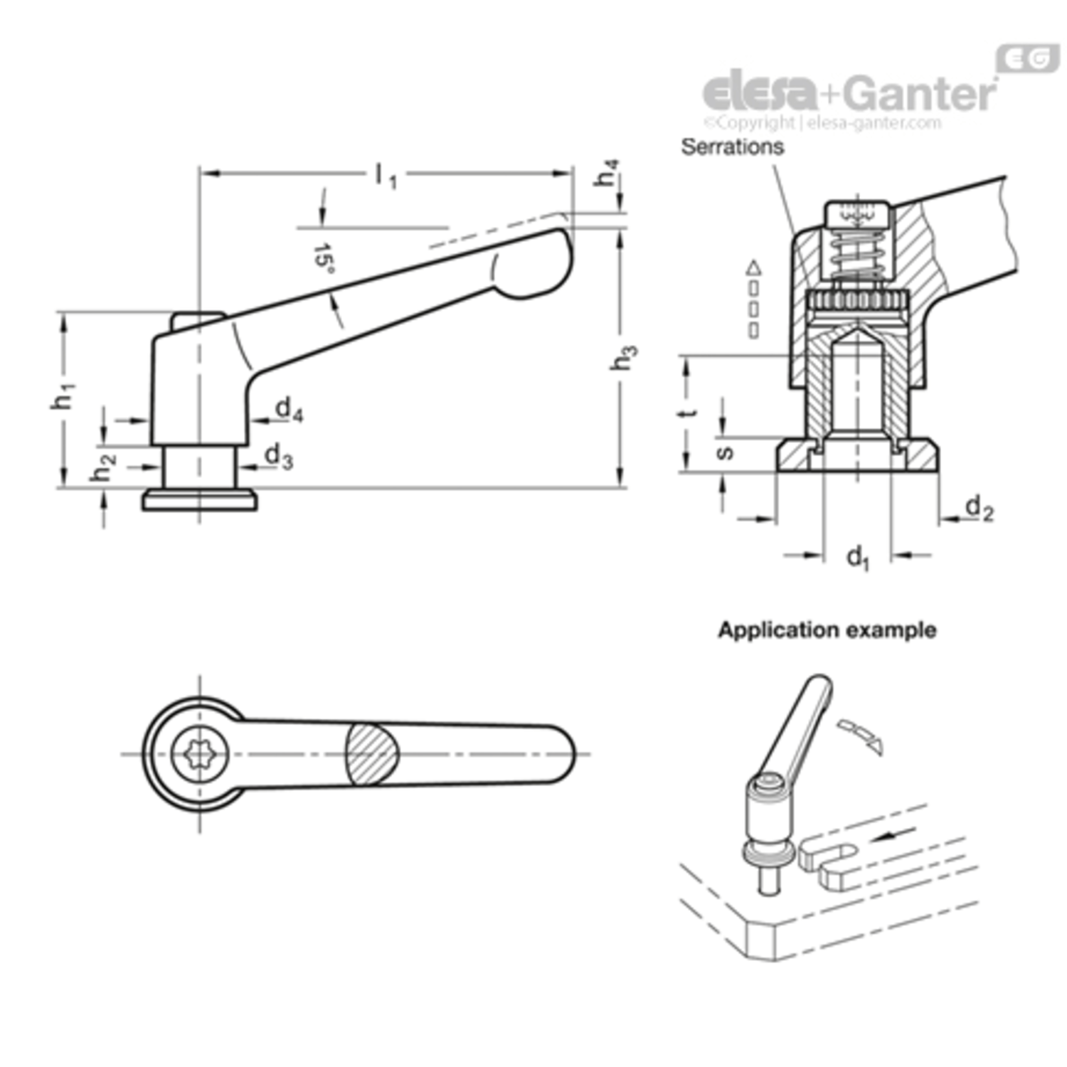 Adjustable Hand Levers With Bushing And Washer