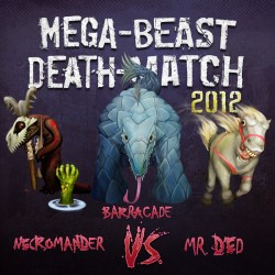 Cover for Mega Beast Death Match 2012 round 4 podcast, art by Bo Kaier