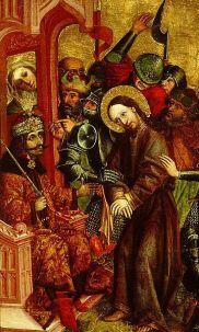 Vlad the Impaler as Pontius Pilate judging Jesus Christ. National Gallery, Ljubljana, 1463