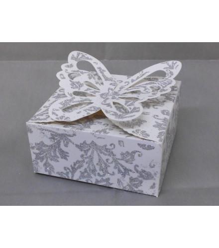 25 boites a gateau carrees papillon motifs paillettes blanc