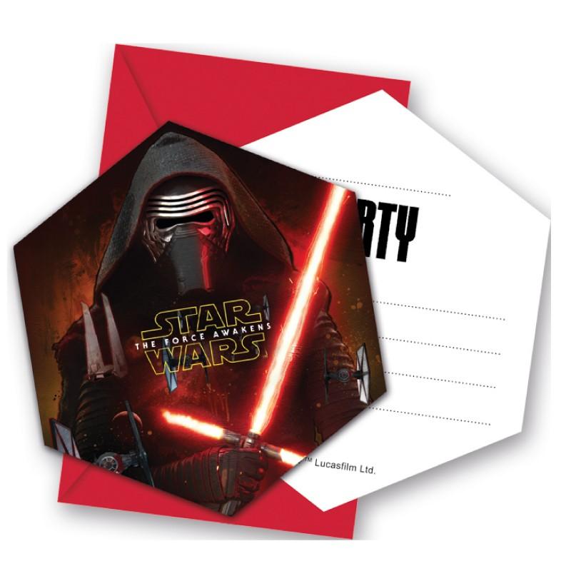 6 cartes d invitation star wars enveloppe