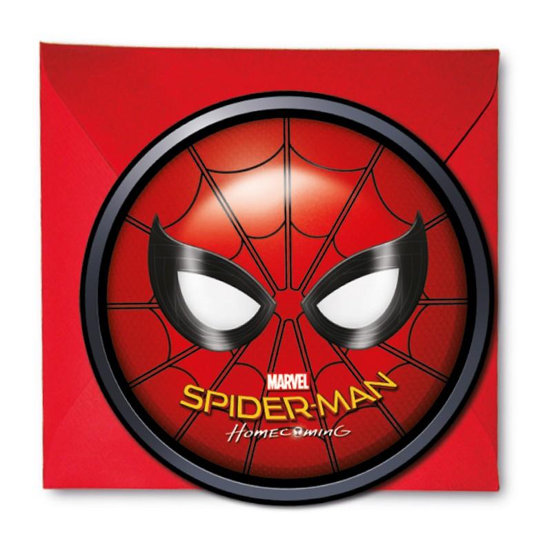 6 cartes d invitation spiderman enveloppe