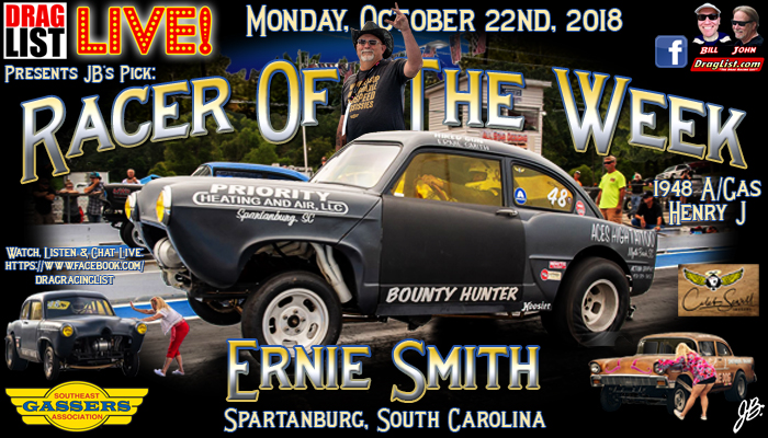 Ernie Smith is JB's Pick for Racer of the Week: October 22nd! - Drag