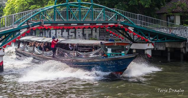 The river boat at the klongs (canals) is inexpensive and fast compared to the never ending traffic jams in the city.