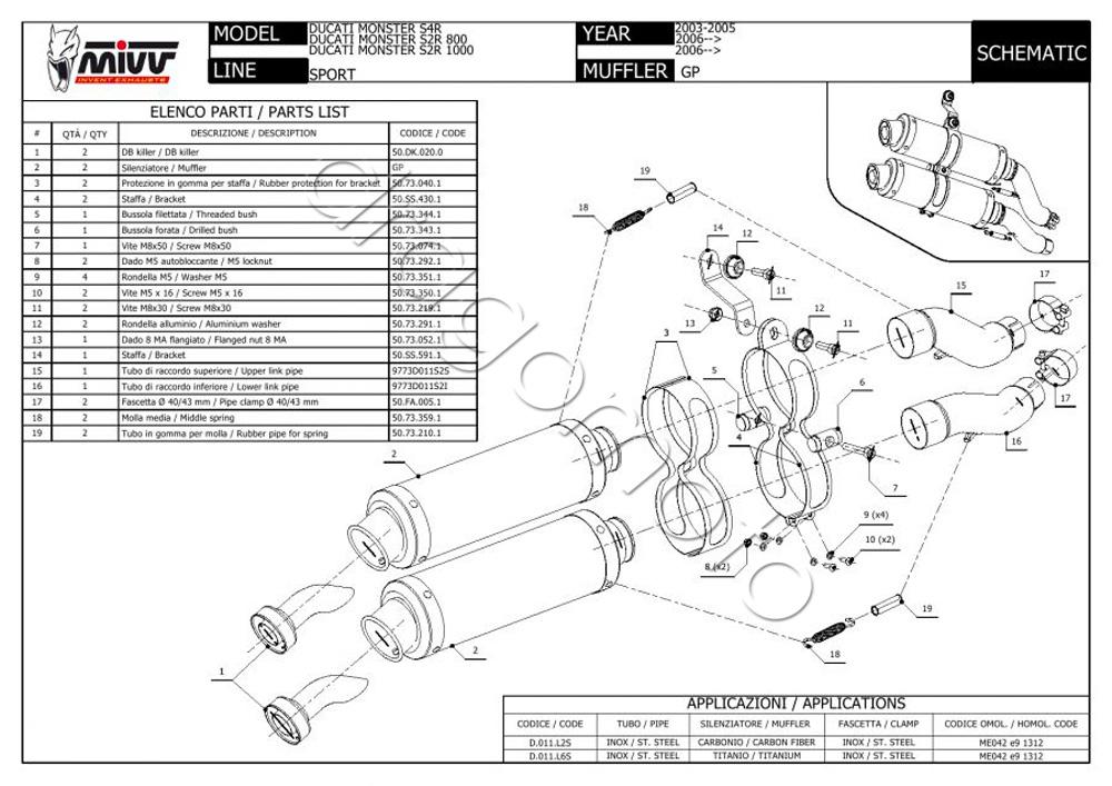 Ducati Monster S2R 1000 Bj. 2008 08 Auspuff MIVV GP Carbon
