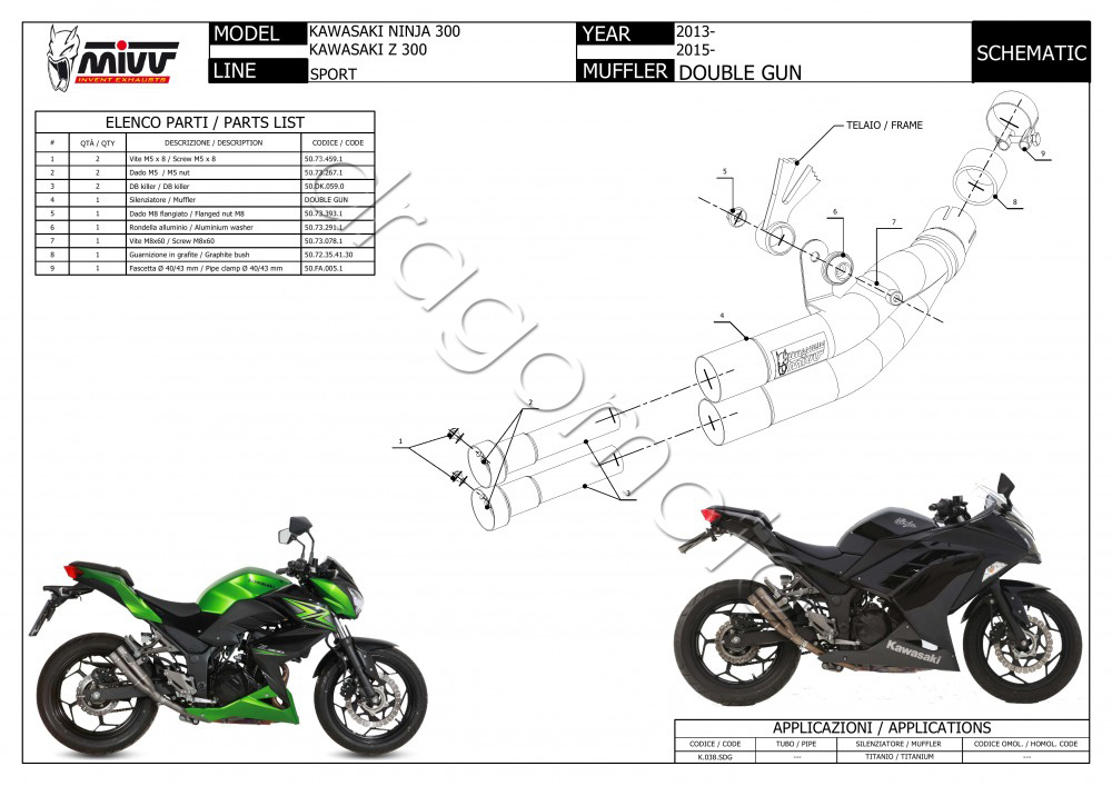 Kawasaki Ninja 300 2013 13 MIVV Exhaust Double Gun Full
