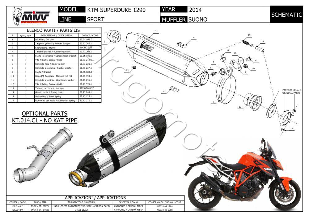 KTM 1290 Superduke 2015 15 MIVV Exhaust Suono Steel Black