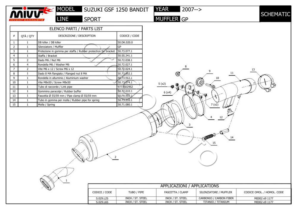 Suzuki GSF 1250 Bandit 2012 12 MIVV Pot Echappement GP