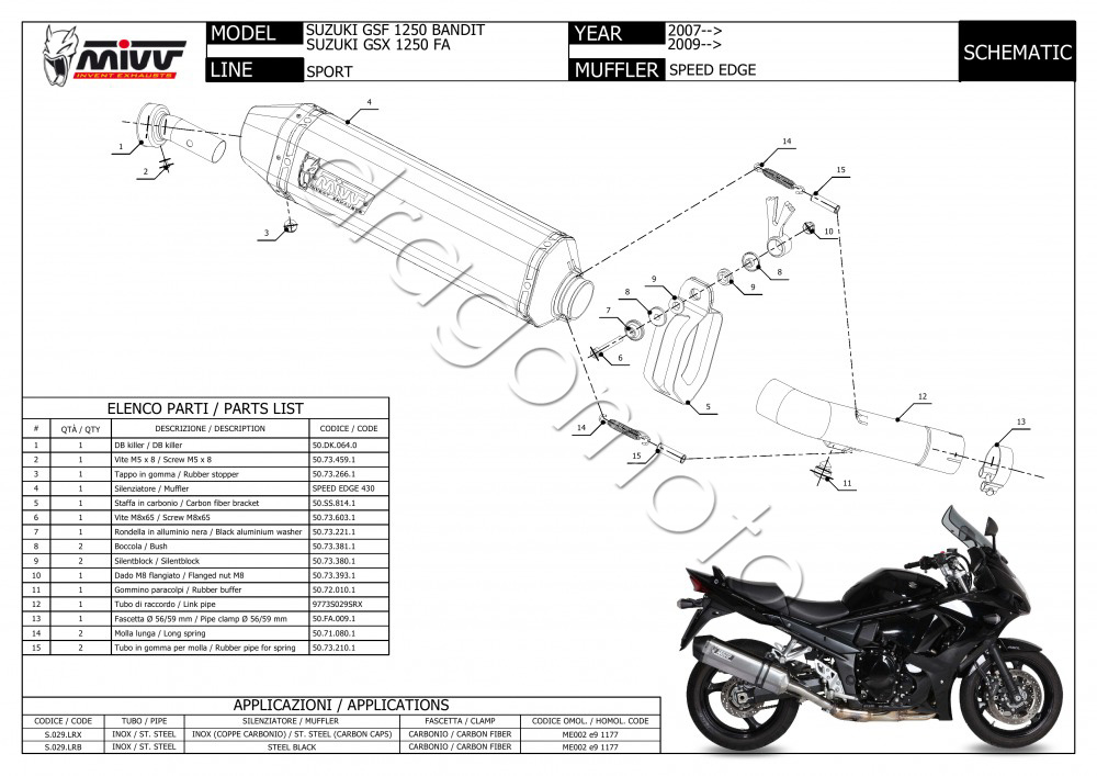 Scarico Suzuki GSX 1250 FA 2010 10 MIVV Speed Edge Steel