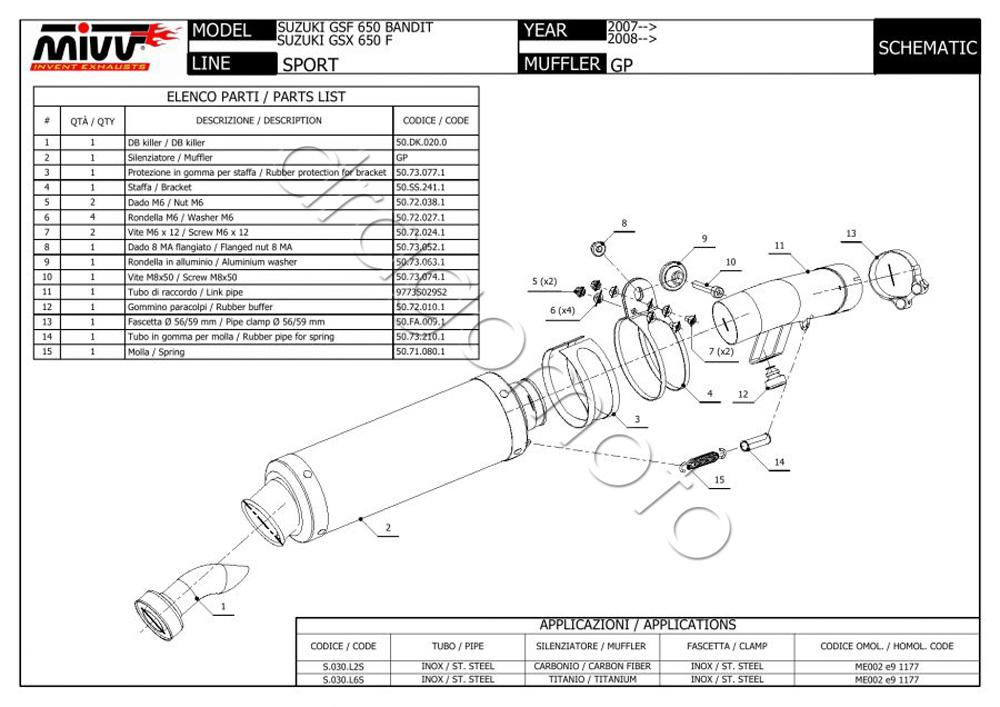 Suzuki GSF 650 Bandit 2011 11 MIVV Pot Echappement GP