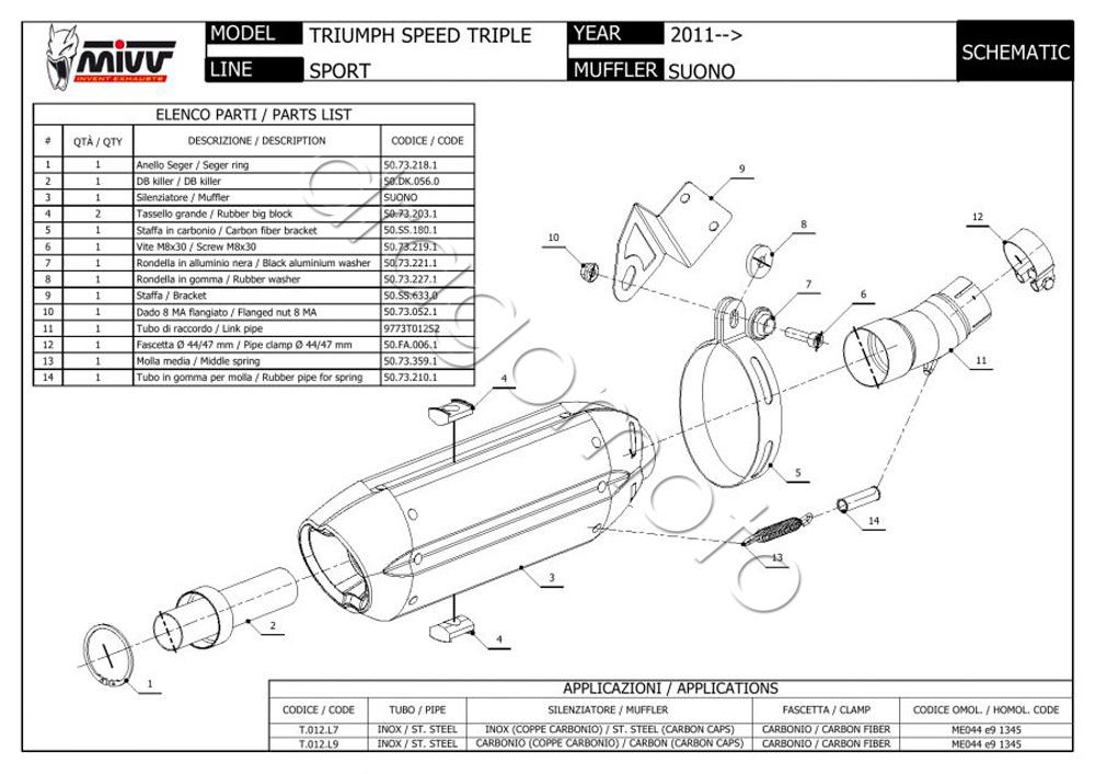 Triumph Speed Triple 2012 12 MIVV Exhaust Suono Steel
