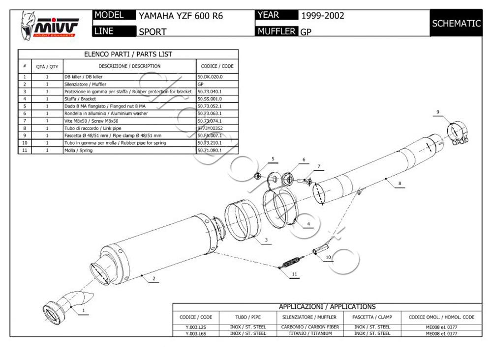Yamaha YZF 600 R6 2000 00 MIVV Pot Echappement GP Steel
