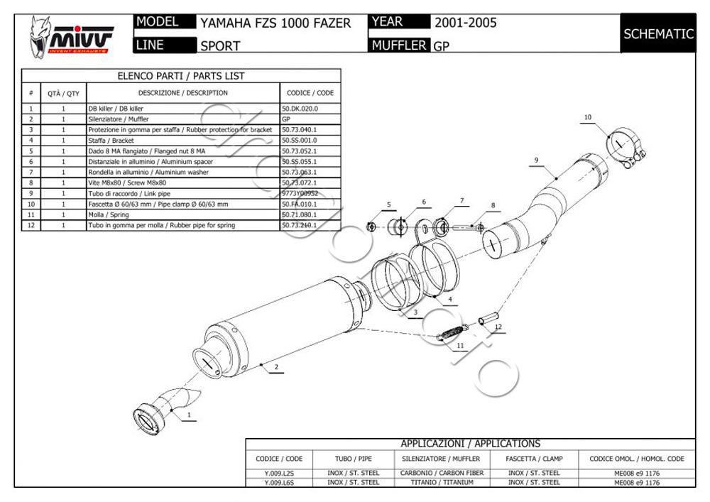 Yamaha FZS 1000 Fazer Bj. 2003 03 Auspuff MIVV GP Steel