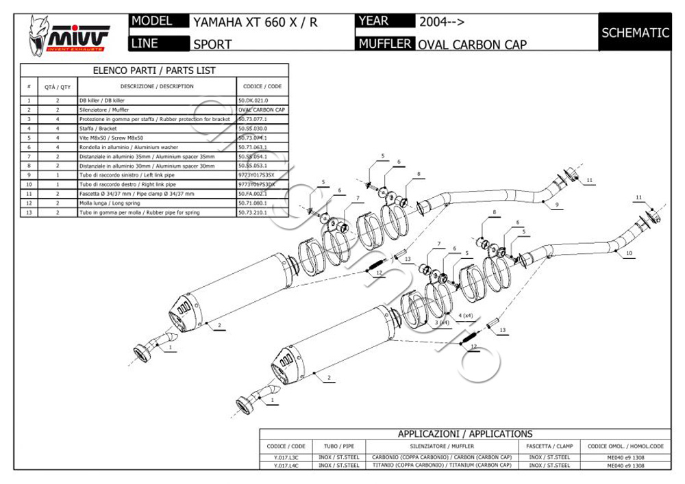 Yamaha XT 660 X/R 2009 09 MIVV Exhaust Oval 8051012028546