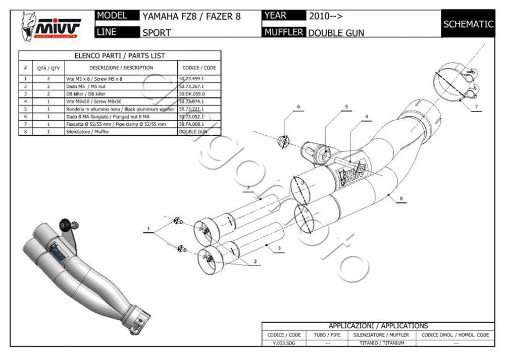 Yamaha FZ8 / Fazer 8 2012 12 MIVV Exhaust Double Gun Full