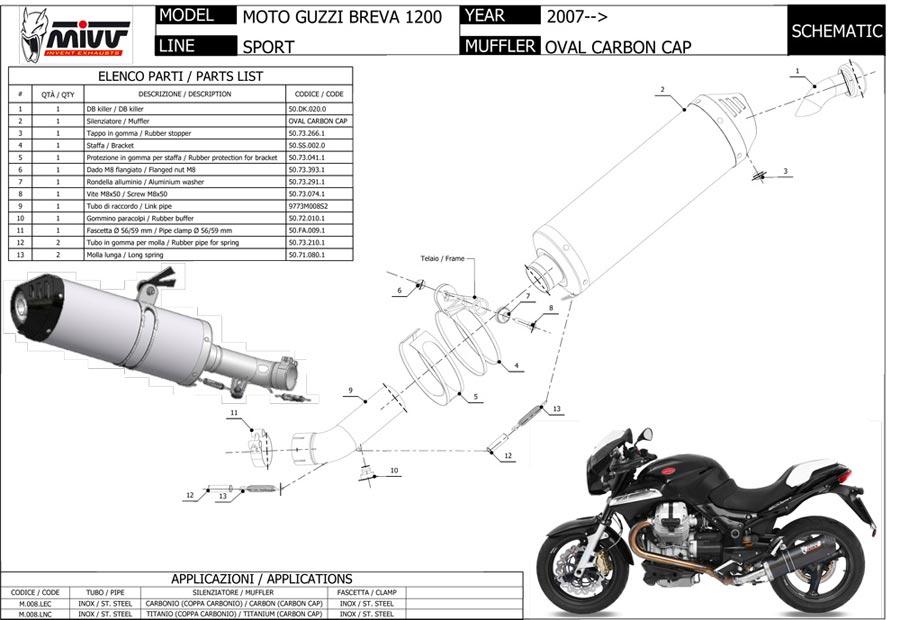 MOTO GUZZI NORGE 1200 2006 2007 MIVV Pot échappement OVAL