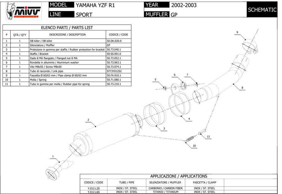 YAMAHA YZF 1000 R1 2002 2003 MIVV Pot échappement GP Noir