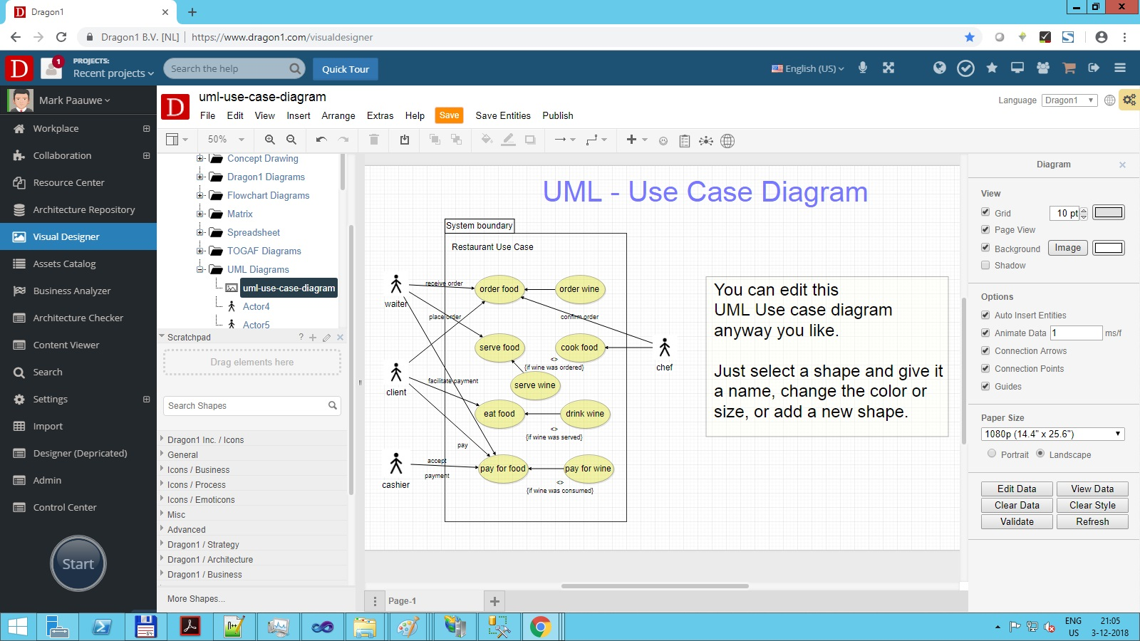 hight resolution of screenshot of the visual designer used for uml diagramming here a use case diagram template was instantiated with one click on a button