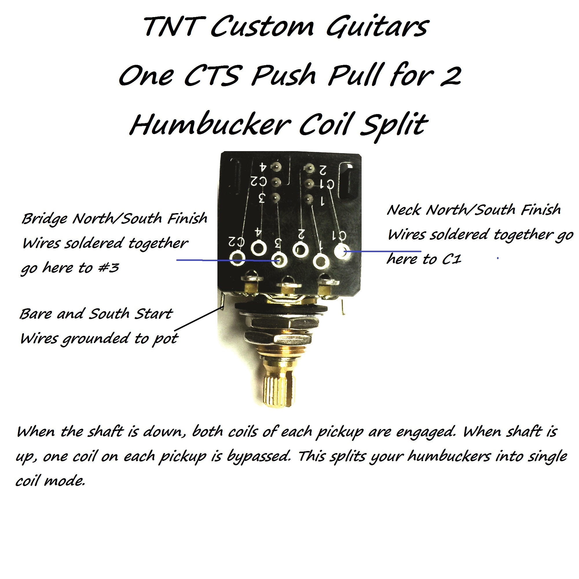 hight resolution of 1v1t prewired harness 2 pickup cts push pull pots 3 way fcs blade switch