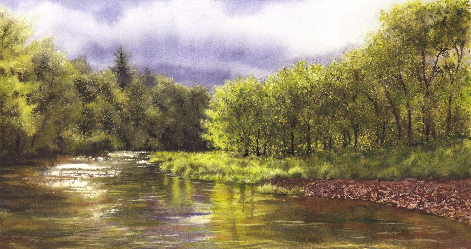 """Red Cedar, Before the Storm"", watercolor, 11x21"" ©2006 Lynne Baur"