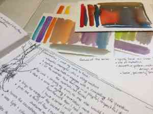 Journaling about the characteristics I like to see in my work, and about the connecting threads for a series. Plus, some color swatches. I