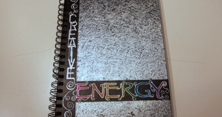 Journal cover with lettering outlined.
