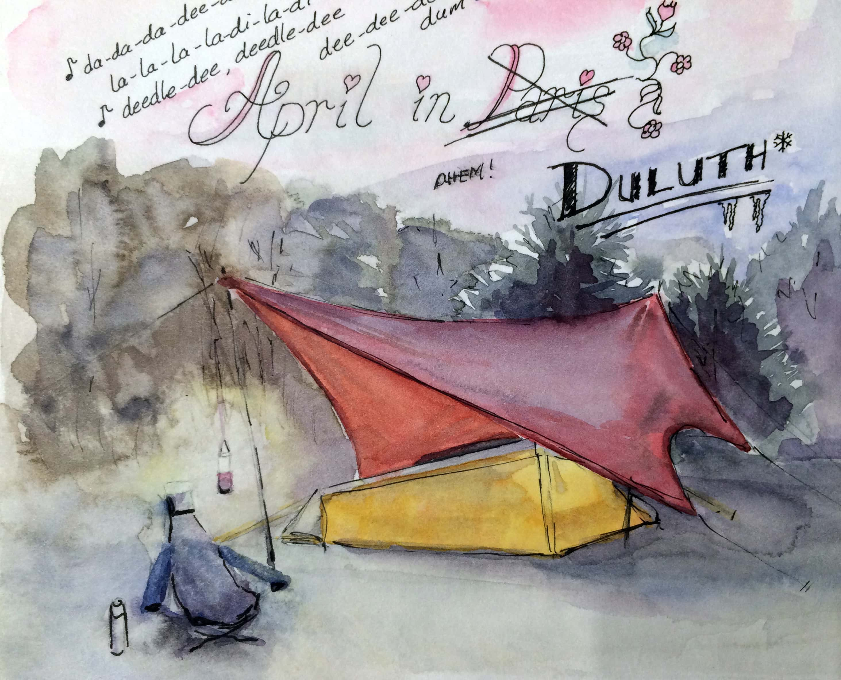 line and wash painting of a c&site with tent and chair & Line-and-Washu2014Watercolor Painting Anyone Can Do - Dragonfly Spirit ...