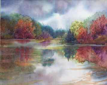"8x10"" watermedia on silk painting of a pond in with autumn trees reflecting in the water, by Lynne Baur"
