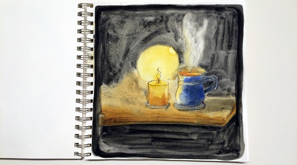 Line and wash painting of a candle and mug of tea.