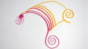 Red spiral and dot with additional red and yellow lines added.