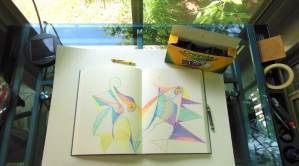 """Journal page and crayons with a """"crayon conversation""""."""