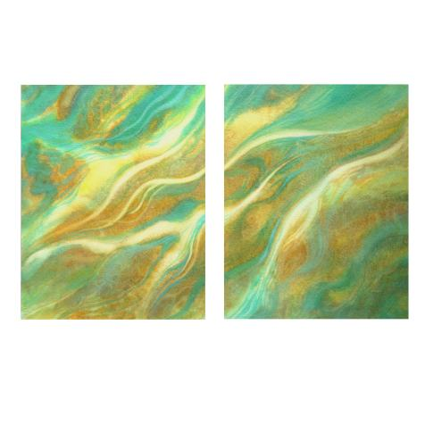 """""""Currents and Eddies #4"""", mixed watermedia on paper mounted on board diptych (14x11"""", 14x11""""), $275"""