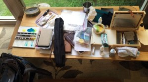 Backpack contents. Lots of art supplies!